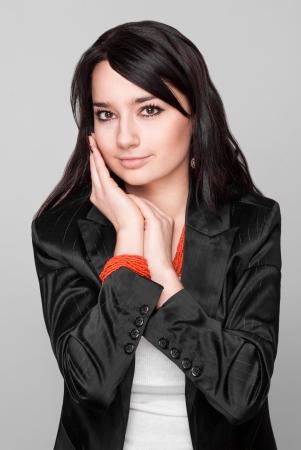 Portrait of beautiful model on white background