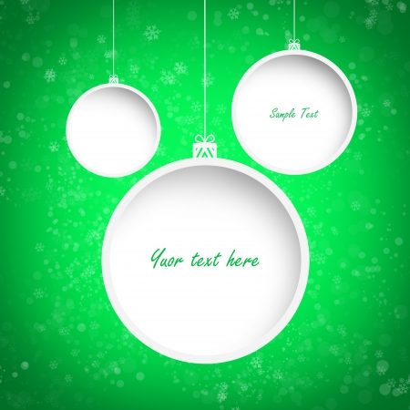 Christmas green background with three white garlands and text to be inserted - illustration