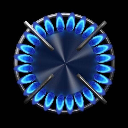 propane: Blue gas stove in the dark from the top illustration Stock Photo