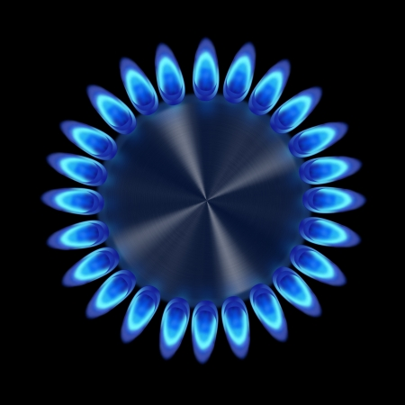 Blue gas ring in the dark from the top illustration