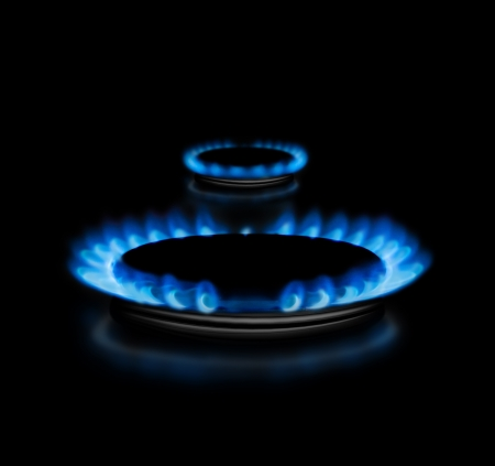 Two gas rings in the dark from the side shoot Stock Photo