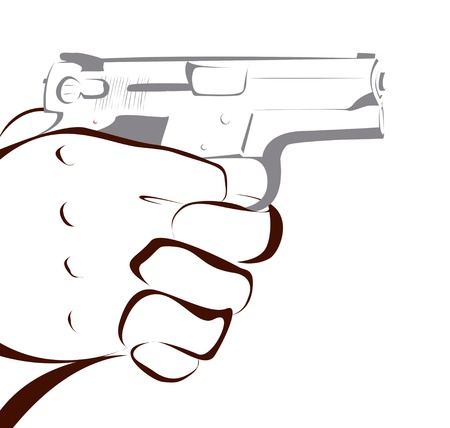 murderer: Hand with gun isolated on white
