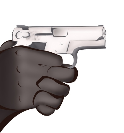 hitman: Hands with gun isolated on white