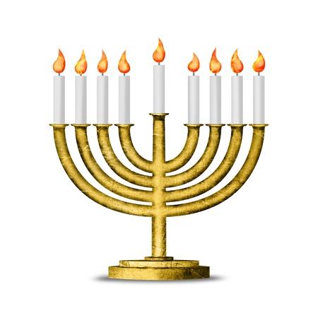 hanoukia: Bougies de Hanoukka tous bougie lite sur le menorah traditionnel de Hanukkah - illustration