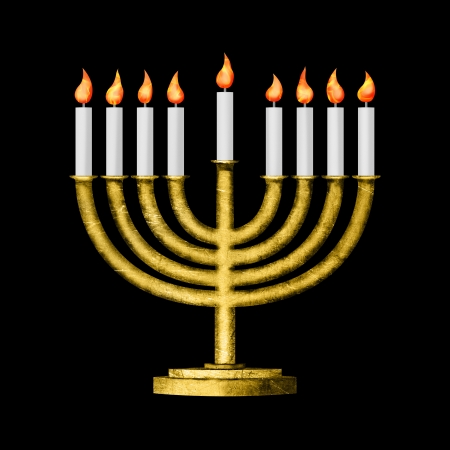 judaica: Hanukkah candles all candle lite on the traditional Hanukkah menorah on black
