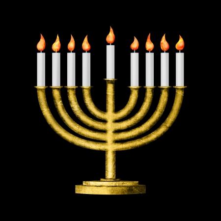 Hanukkah candles all candle lite on the traditional Hanukkah menorah on black