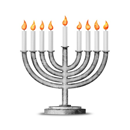 judaica: Hanukkah candles with all candle lite on the traditional Hanukkah menorah