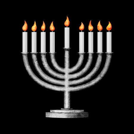chanukiah: Hanukkah candles all candle lite on the traditional Hanukkah menorah on black background Stock Photo