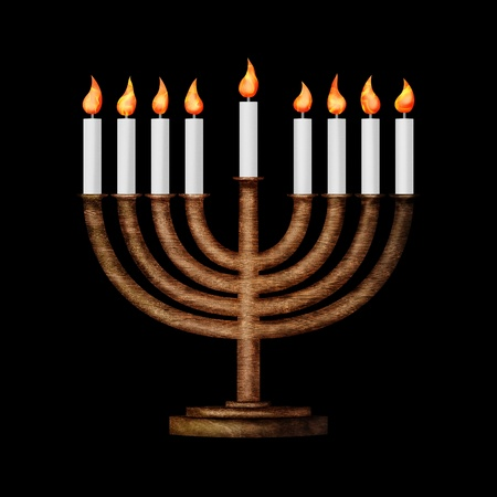 Hanukkah candles all candle lite on the traditional Hanukkah menorah isolated on black Stock Photo