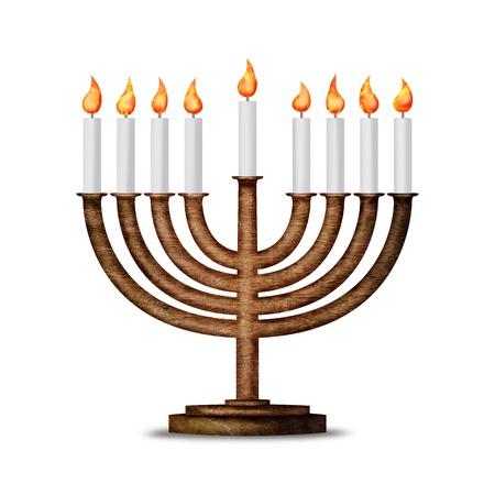 hanoukia: Bougies de Hanoukka tous bougie lite sur le menorah traditionnel de Hanukkah isol� sur blanc Banque d'images