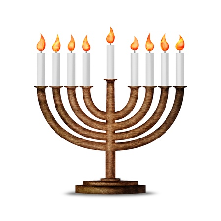 Hanukkah candles all candle lite on the traditional Hanukkah menorah isolated on white photo