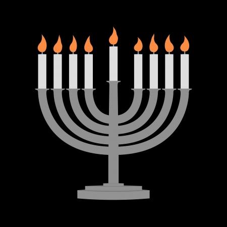 hanoukia: Bougies de Hanoukka tous bougie lite sur le menorah traditionnel de Hanukkah - fond noir Banque d'images