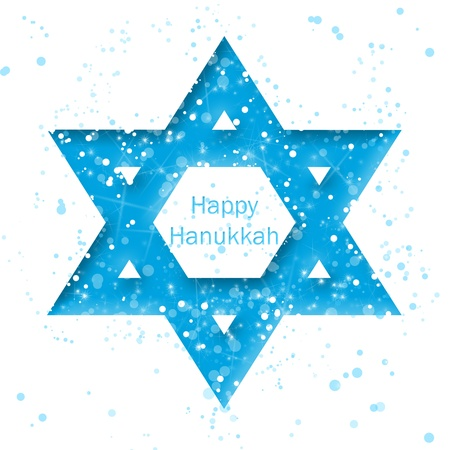 jewish star: Happy Hanukkah text inside of Star of David on white