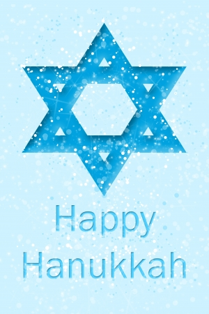 tidings: Happy Hanukkah text bellow of Star of David  Stock Photo