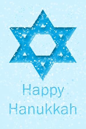 bellow: Happy Hanukkah text bellow of Star of David  Stock Photo