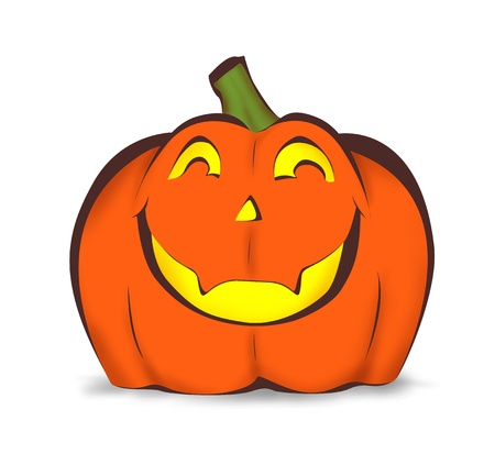 Halloween pumpkin with happy smile isolated on white Stock Photo