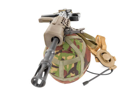 gunner: Special forces machine gun, helmet and other equipment white background