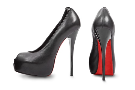 Black high hill shoes isolated on white   Stock Photo