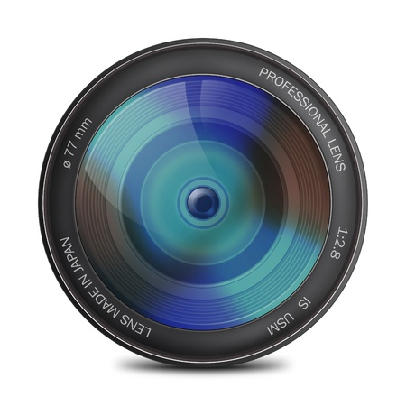 Camera photo lens from the front Stock Photo