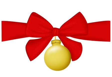 Christmas garlande and a bow on white background - illustration Stock Illustration - 16415152