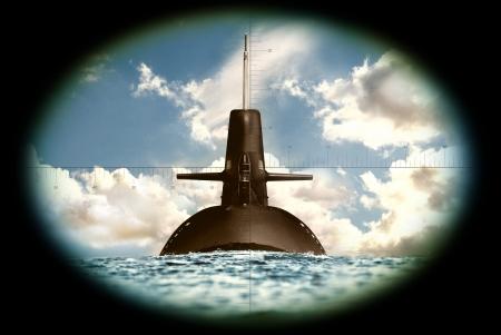 submarino: El ejército y su arma en tierra, mar y aire Foto de archivo