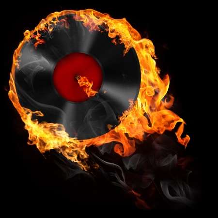 Illustration of analog vinyl record in fire on the black background