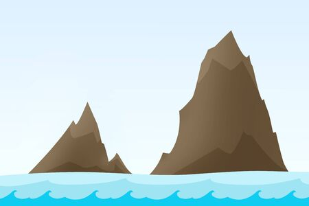 Two rock islands in the sea - illustration