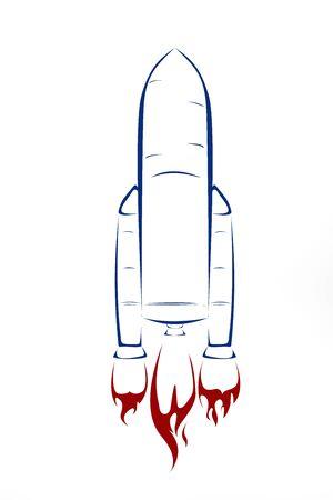 voiture de pompiers: Mignon fusée sur fond blanc - illustration