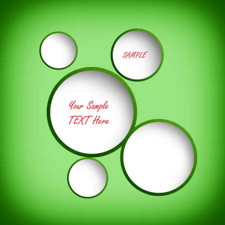 Abstract circles on green background. Banner with sample text.  photo