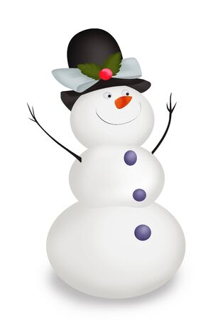 Funny Christmas Snowman wearing a hat and his hands up isolated on white Stock Photo
