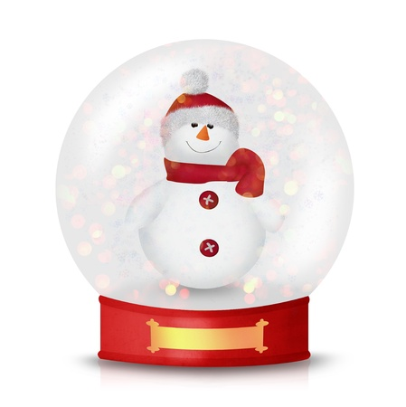 Cute Christmas Snowman wearing a hat and a scarf isolated on white