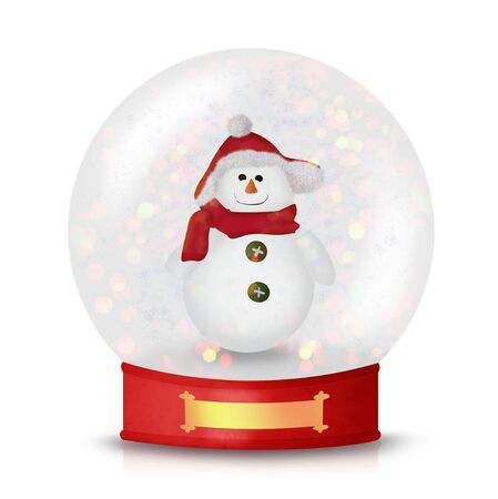 Cute Christmas Snowman wearing hat and scarf inside of snow globe isolated on white Stock Photo