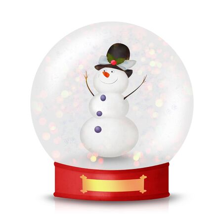 tophat: Cute Christmas Snowman inside of snow globe isolated on white Stock Photo