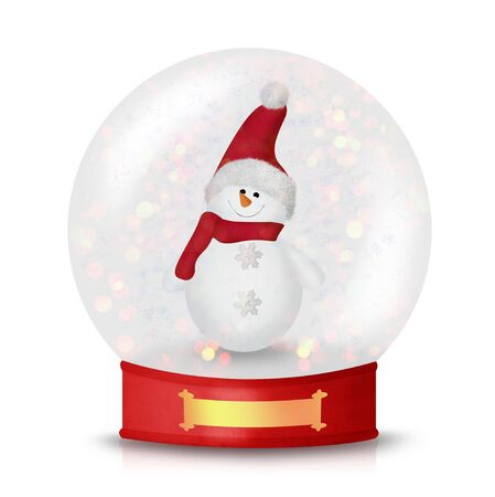 tophat: Snow globe with cute Christmas snowman inside isolated on white