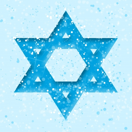 jewish star: Star of David on blue  Stock Photo