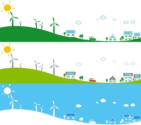 powerplants: Illustration of powerplants and photovoltaic panels  Stock Photo