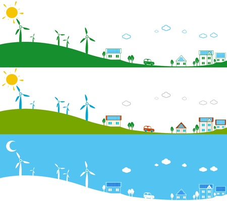 powerplants: Illustration of powerplants and photovoltaic panels in use