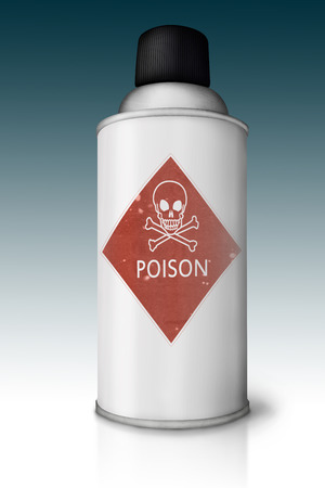 Spray can with poison sign and reflection on gradient background  Stock Photo