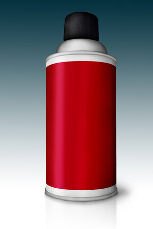 Red color spray can isolated on gradient background Stock Photo