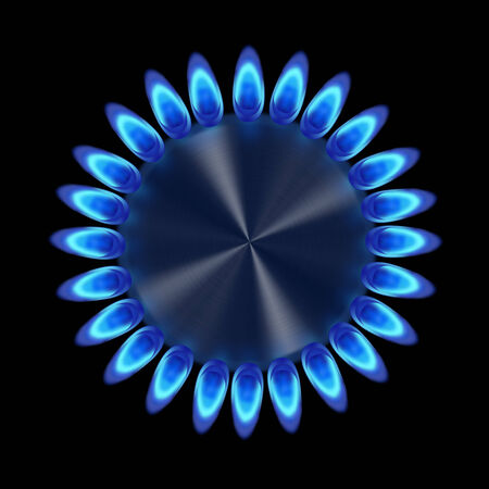 gas flame: Blue gas ring in the dark from the top illustration
