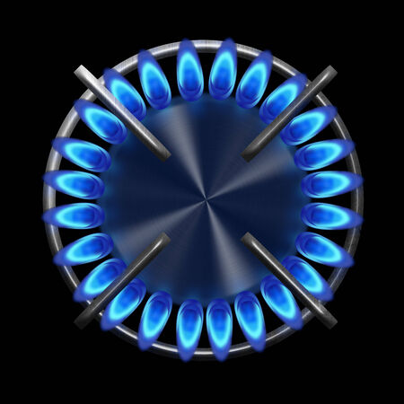 stove top: Blue gas stove in the dark from the top illustration Stock Photo