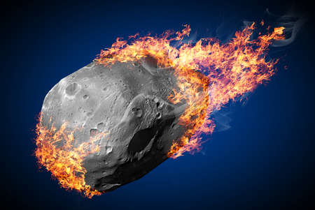 Flying comet on fire
