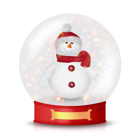 Cute Christmas Snowman wearing a hat and a scarf isolated on white photo