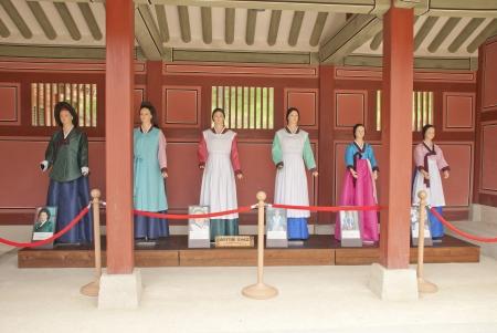 folk village: A Traditional Korean dresses on mannequins