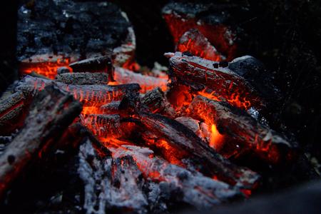 Macro burned charcoal in a BBQ