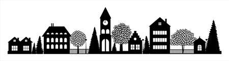 Small Town silhouette skyline horizontal banner black and white vector