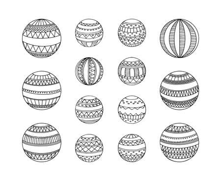 Set of Christmas toys decorated variously ornated stylized balls. Vector Christmas coloring tree decoration baubles line art