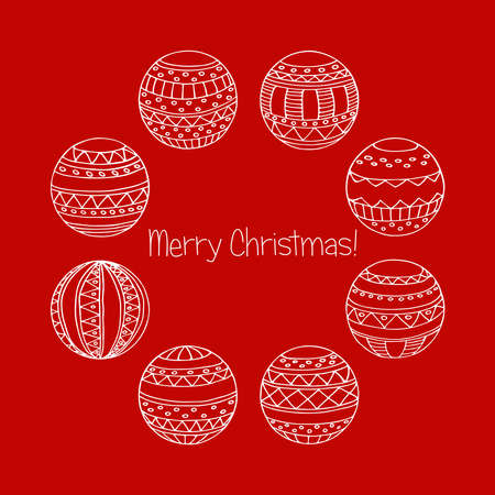 Set of Christmas greeting postcards variously ornated stylized balls. Vector Christmas baubles white line art on wine red background Ilustracja