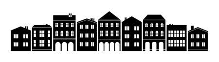 Abstract nordic european america town suburb silhouette cutout skyline with double decker and three-storey houses black and white