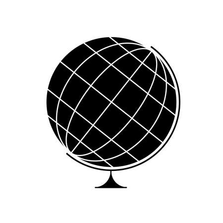 Earth Globe black and white scheme isolated illustration icon - symbol of geography, history and science